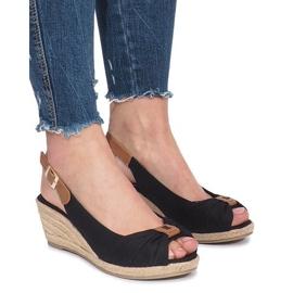 Czarne sandały na koturnie espadryle Zoe