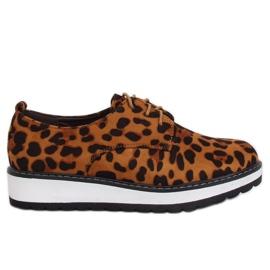 Mokasyny damskie leopard C-7225 Leopard Print brązowe