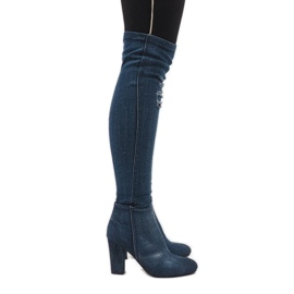 Niebieskie jeans kozaki z przetarciami BH70-HB