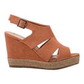 Best Shoes Pomarańczowe Sandały Espadryle