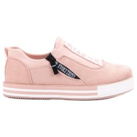 SHELOVET różowe Zamszowe Buty Sportowe Love