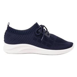 Ideal Shoes granatowe Tekstylne Obuwie Sportowe