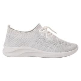 Ideal Shoes białe Tekstylne Obuwie Sportowe