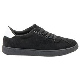 Ideal Shoes Czarne Sznurowane Obuwie