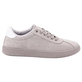 Ideal Shoes Szare Sznurowane Obuwie