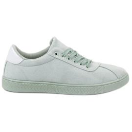 Ideal Shoes zielone Miętowe Sznurowane Obuwie