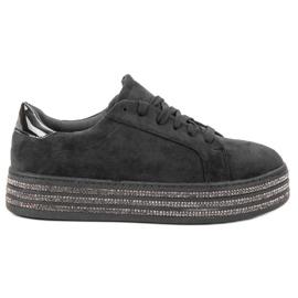 Bestelle czarne Zamszowe Buty Sportowe
