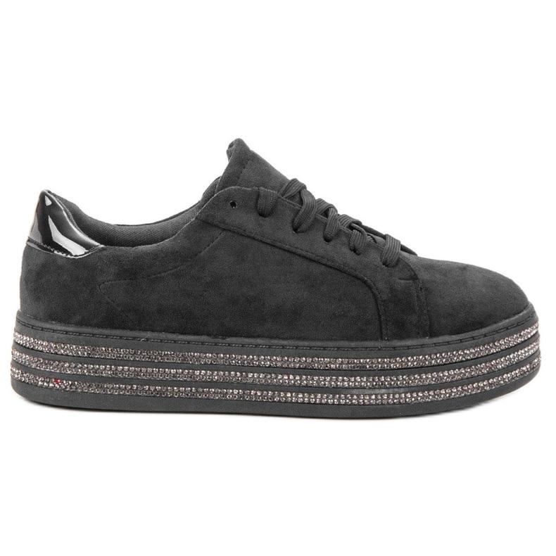 Bestelle Zamszowe Buty Sportowe czarne