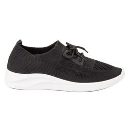 Ideal Shoes czarne Tekstylne Obuwie Sportowe