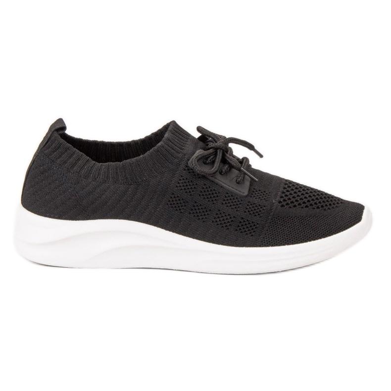 Ideal Shoes Tekstylne Obuwie Sportowe czarne