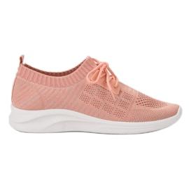 Ideal Shoes różowe Tekstylne Obuwie Sportowe