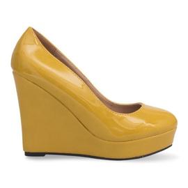 Lakierowane Czółenka Na Koturnie 2011-23 Żółty żółte