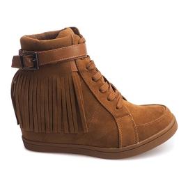Brązowe Zamszowe Trampki Sneakers Boho Frędzle 2030 Camel