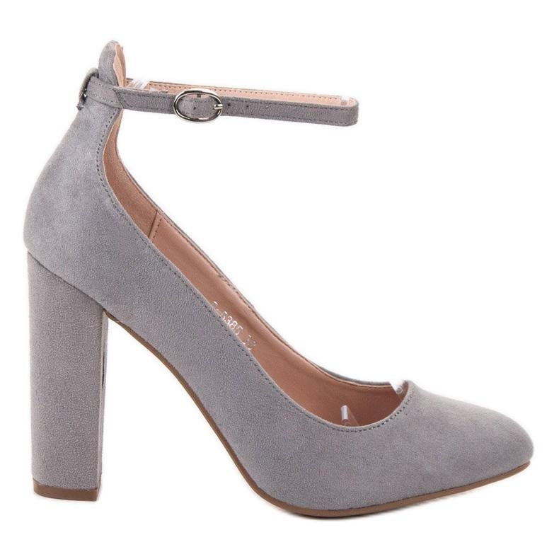 Ideal Shoes Czółenka Zapinane Sprzączką szare