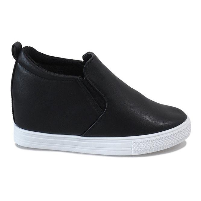 Czarne sneakersy na koturnie DD384-4