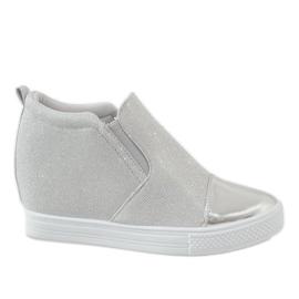 Szare Srebrne sneakersy na koturnie DD410-2