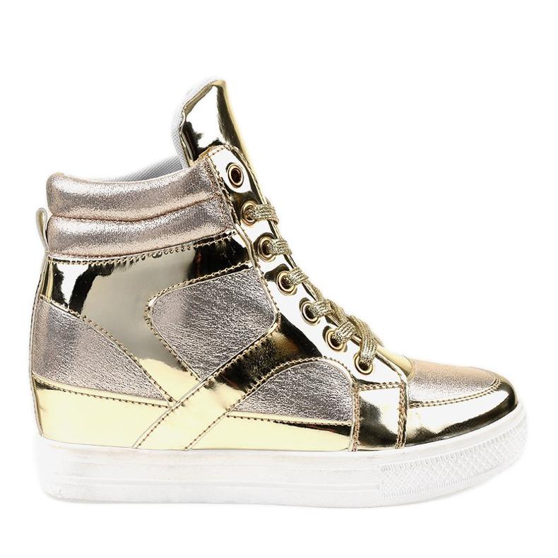 Złote Lakierowane Ażurowe Sneakersy L641-2 żółte