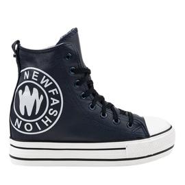 Granatowe sneakersy na koturnie W09
