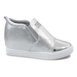Szare Srebrne ażurowe sneakersy na koturnie DD392-2