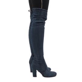 Niebieskie jeans kozaki z przetarciami BH71-HB