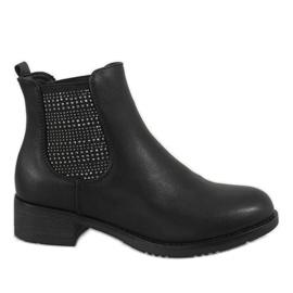 Kayla Shoes Czarne ocieplane botki na obcasie 88053