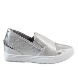 Szare Srebrne sneakersy na koturnie DD436-2