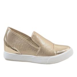 Złote sneakersy na koturnie DD436-8 żółte