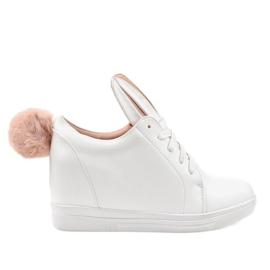 Białe sneakersy na koturnie króliczki H6210A-9