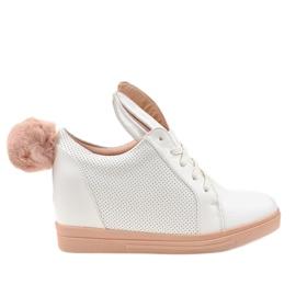 Białe sneakersy na koturnie króliczki H6211-9