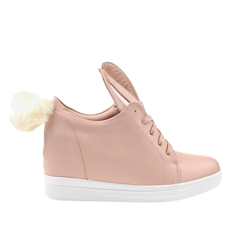 Różowe sneakersy na koturnie króliczki H6210-11