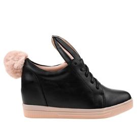 Czarne sneakersy na koturnie króliczki H6210