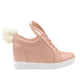 Różowe sneakersy na koturnie króliczki H6211-11