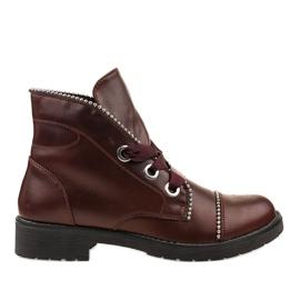 Kayla Shoes czerwone Bordowe sznurowane botki 11606-73