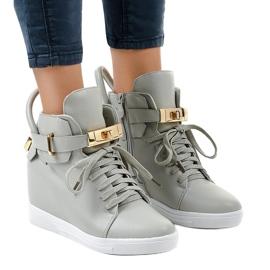 Szare sneakersy na koturnie z klamrą H6600-26