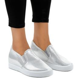 Szare Srebrne sneakersy na koturnie DD466-2