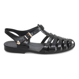 Czarne Sandały Rzymianki Meliski PT36 Czarny