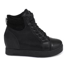 Czarne Sneakersy Na Koturnie 1651 Czarny