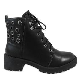Czarne damskie botki traperki G157-1
