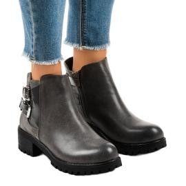 Czarne Szare botki damskie na masywnej podeszwie M181