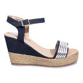 Granatowe Czarne sandały na delikatnej koturnie Glam Shine
