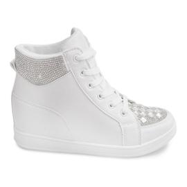 Białe Sneakersy Z Cekinami C7165 Biały