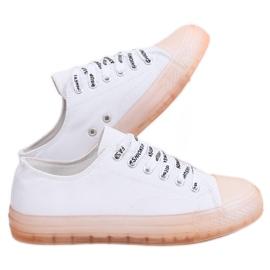 Białe Trampki damskie biało-różowe B111-2 WHITE/PINK