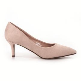 Ideal Shoes brązowe Wygodne Czółenka Na Szpilce
