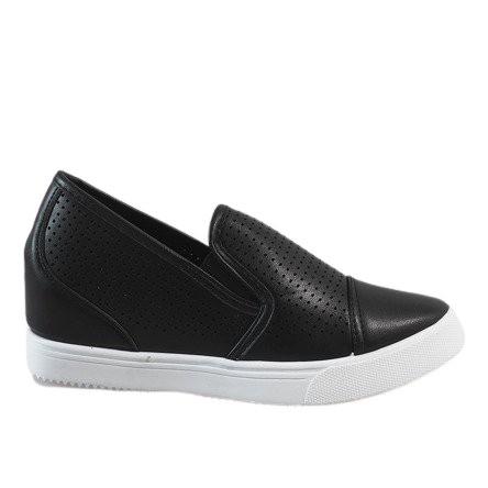 Czarne ażurowe sneakersy na koturnie DD441-1