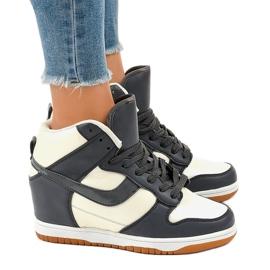 Beżowe sneakersy na koturnie sznurowane 0056-2 brązowe