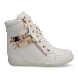 Białe Sneakers Trampki Na Koturnie Botki Ovye WF100 Biały