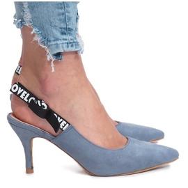 Niebieskie szpilki sandałki Love Paris
