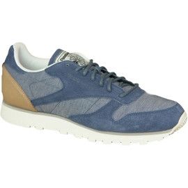 Niebieskie Buty Reebok Cl Leather Fleck M AQ9722