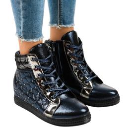 Granatowe sneakersy na koturnie R468-1