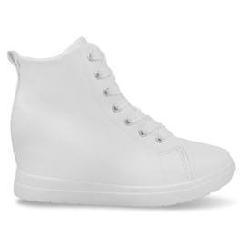 Białe Modne Proste Sneakersy GFA97 Biały